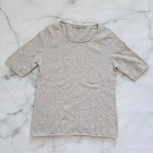 InCashmere Short Sleeve Grey Sweater Small
